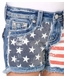 Miss Me Girls Sequin Flag Shorts - Light Wash (Closeout)