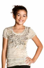 Miss Me Girls Short Sleeve Burnout Stripe Shirt - Taupe