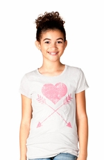 Miss Me Girls Short Sleeve Heart and Arrow Tee Shirt - Light Grey