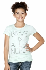 "Miss Me Girls Short Sleeve ""Love Is All You Need"" Logo Tee Shirt - Turquoise (Closeout)"