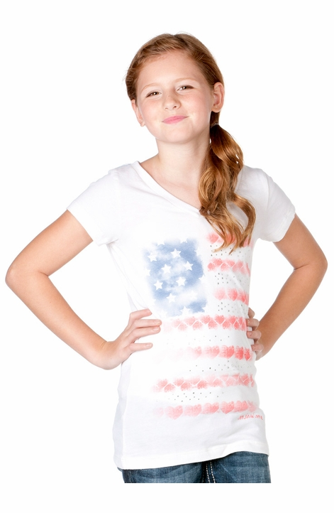 Miss Me Girls Stars and Stripes Top - Off White (Closeout)