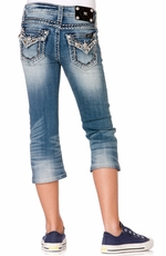 Miss Me Girls Studs With Raw Fray Capri Jeans