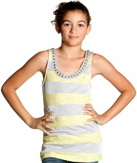 Miss Me Girls Tank Top Silver Stripe - Lemon (Closeout)