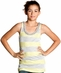 Miss Me Girls Tank Top Silver Stripe - Lemon