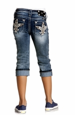 Miss Me Girls Three Tone Fleur De Lis Wing Capri - MK 134 (Closeout)
