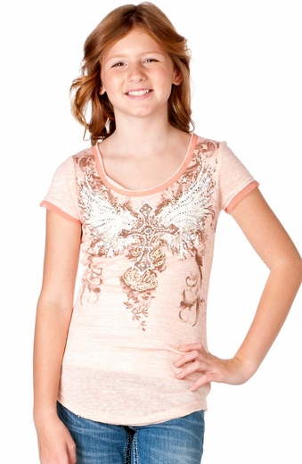 Miss Me Girls Short Sleeve Lace-Up Winged Cross Top - Peach (Closeout)