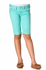 Miss Me Girls Two Tone Stitch Border Bermuda - Mint (Closeout)