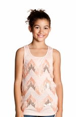 Miss Me Girls Zig Zag Stripe Tank Top - Peach