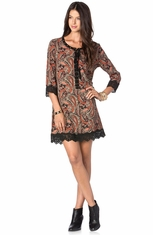 Miss Me Printed Shift Dress - Rust (Closeout)