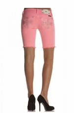 Miss Me Psychedelic Cross Bermuda Shorts - Neon Pink (Closeout)