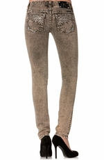 Miss Me Winged Skinny Jeans with Retro Wash - Olive (Closeout)