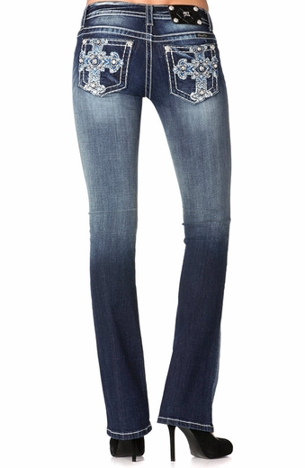 Miss Me Womens Puffy Cross Bootcut Jeans - Med 182 (Closeout)