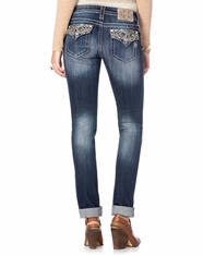 Miss Me Women's Abstract Embroidered Flap Pocket Boyfriend Ankle Jean - MK357