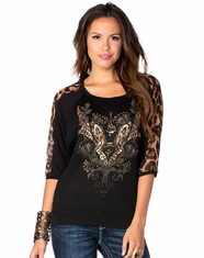 Miss Me Women's Animal Instincts Top - Black (Closeout)