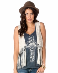 Miss Me Women's Boho Luxe Reversible Vest - Natural