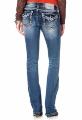 Miss Me Women's Embellished Flap Boot Cut Jeans - MED258 (Closeout)