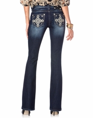 Miss Me Women's Geometric Cross Boot Cut Jeans - DK323