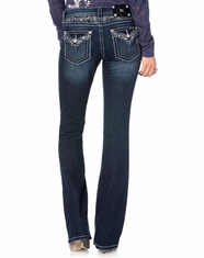 Miss Me Women's Rainflower Flap Boot Cut Jeans - DK325 (Closeout)