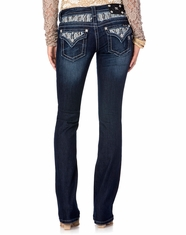 Miss Me Women's Pearl Royale Abstract Insert Flap Boot Cut Jeans - DK326 (Closeout)