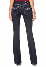 Miss Me Women's Abstract Cross Hatch Border Boot Cut Jeans - DKRN (Closeout)