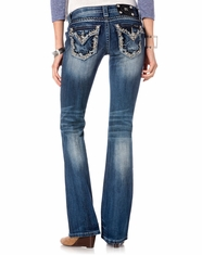Miss Me Women's Belles and Bling Border Boot Cut Jeans - MED282 (Closeout)