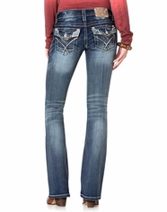 Miss Me Women's Glitter Rendezvous Boot Cut Jeans - MK342