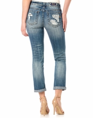 Miss Me Women's Boyfriend Ankle Jeans - Light Wash
