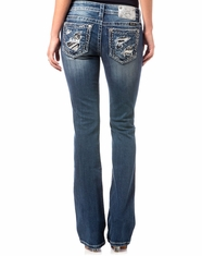 Miss Me Women's Distressed Low Rise Slim Fit Boot Cut Jeans - Medium Wash