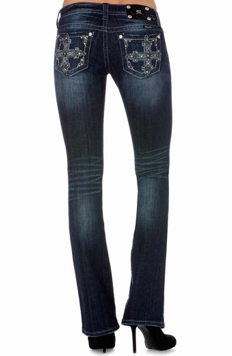 Miss Me Women's Embellished Cross Boot Cut Jeans - DK 246 (Closeout)