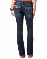 Miss Me Women's Flap Pocket Boot Cut Jeans - Dark Wash