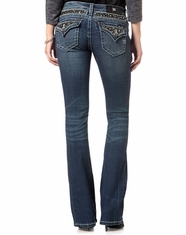 Miss Me Women's Flap Pocket Boot Cut Jeans - Medium Wash
