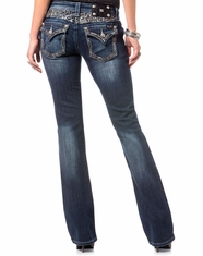 Miss Me Women's Flap Pocket Low Rise Slim Fit Boot Cut Cut Jeans - Dark Wash