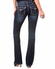Miss Me Women's Flap Pocket Low Rise Slim Fit Boot Cut Jeans - Dark Wash