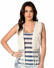 Miss Me Women's Fringe Vest - Cream
