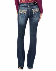 Miss Me Women's Geometric X Santa Fe Boot Cut Jeans - MK368 (Closeout)