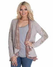 Miss Me Women's Lace Lined Open Cardigan - Taupe (Closeout)