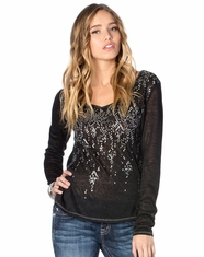 Miss Me Women's Long Sleeve Brilliant Shine High Low Top - Black