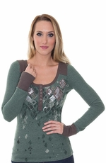 Miss Me Women's Long Sleeve Thermal Henley Shirt with Sequins - Pine (Closeout)