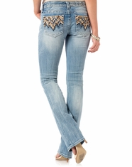 Miss Me Women's Low Rise Slim Boot Cut Jeans - Light Wash (Closeout)
