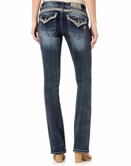 Miss Me Women's Low Rise Slim Fit Boot Cut Jeans - Dark Wash