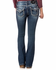 Miss Me Women's Mid Rise Flap Pocket Boot Cut Jeans - Medium Wash