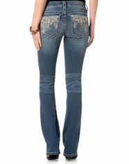 Miss Me Women's Mid Rise Flap Pocket Slim Boot Cut Jeans - Medium Wash