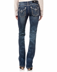 Miss Me Women's Mid Rise Slim Bootcut Jeans - MK438 (Closeout)