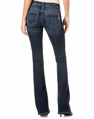 Miss Me Women's Mid Rise Slim Fit Boot Cut Jeans - Dark Wash