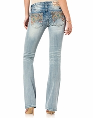 Miss Me Women's Mid Rise Slim Fit Boot Cut Jeans - Light Wash