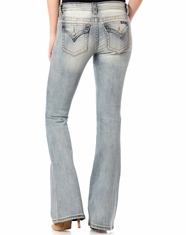 Miss Me Women's Mid Rise Slim Fit Flare Leg Jeans - Light Wash (Closeout)