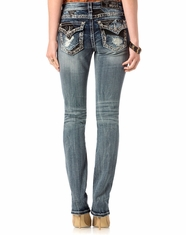 Miss Me Women's Mid Rise Slim Fit Straight Leg Jeans - Medium Vintage