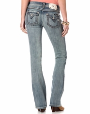 Miss Me Women's Mixed Big Stitch Mid Rise Boot Cut Jeans - LT90