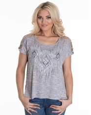 Miss Me Women's Open Shoulder Pull Over Top - Silver (Closeout)