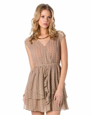 Miss Me Women's Overlay Blended Dress - Taupe